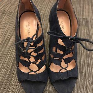 Shoes - Blue suede lace up heels